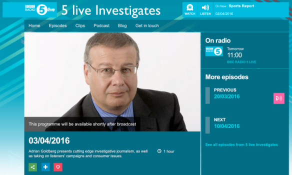 5 Live investigates Sunday 3rd April 11.00am Radio 5